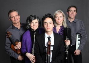 Photo Credit: Janette Beckmann Caption: Members of the Da Capo Chamber Players (Left to Right:) Curtis Macomber, violin, Patricia Spencer, flute, Jay Campbell, cello, Meighan Stoops, clarinet, Blair McMillen, piano