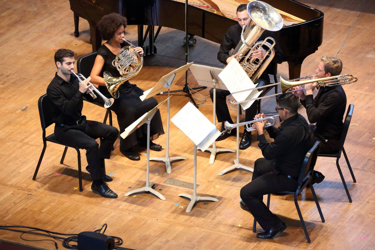 TMC Fellows perform Anders Hillborg's Brass Quintet during FCM, 7.24.16 (Hilary Scott)